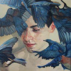 Blue - azul - birds- pássaros - painting - pintura - meghan howland