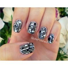 Black and white nails <3  Sort of reminds me of beatle juice