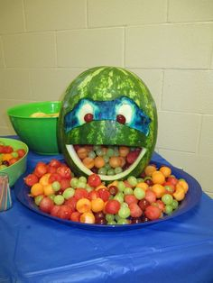 Ninja turtle carved watermelon filled with fruit! Ninja turtle carved watermelon filled with fruit! Diy Ninja Turtle Party, Ninja Party, Ninja Turtle Birthday, Ninja Turtles, Watermelon Carving, Carved Watermelon, Turtle Birthday Parties, 4th Birthday, Birthday Ideas
