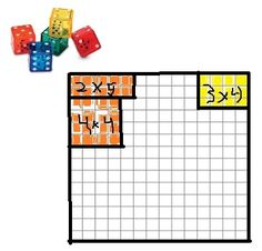 Roll the dice, plot the area, color in the array with your designated color. Find the perimeter. Continue playing with a partner until there is no more room.  One with most property is the winner.