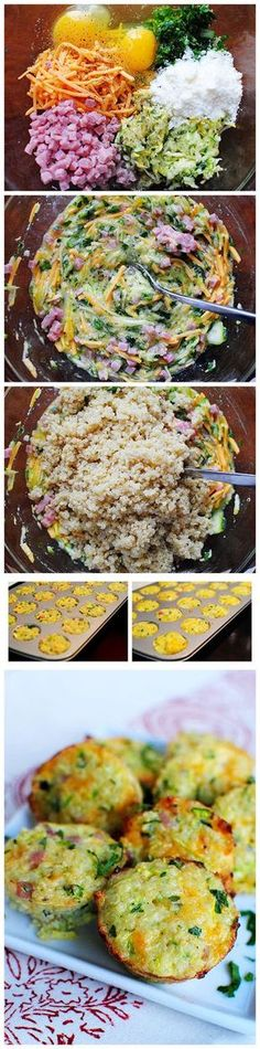 Mini Ham and Cheese Quinoa Cups Made these with bacon and red pepper and in regular sized muffin cups. Zeke ate Great way to give him a protein packed breakfast! Think Food, I Love Food, Protein Packed Breakfast, Breakfast Recipes, Quinoa Breakfast, Breakfast Bites, Breakfast Muffins, Quinoa Muffins, Quinoa Bites