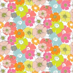 Ditzy flower - colourful pattern Pinks and bright spring colours. You can see more of my work at http://surfacehug.blogspot.co.uk/