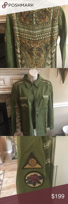 Studded embellished army jacket. NWT. XS Gorgeous army jacket in size XS. NWT!!  See measurements in last pic. Tagged in Spell for exposure only. NOT Spell Spell & The Gypsy Collective Jackets & Coats Utility Jackets