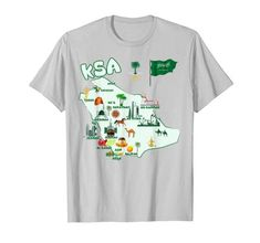 Saudi Arabia Map TShirt KSA tourist attractions cities flag T-Shirt City Flags, Shirt Price, Saudi Arabia, Branded T Shirts, Fashion Brands, Maps, Cities, Mens Tops, Map