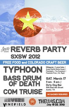 Sailor Jerry presents Reverb Party SXSW 2012 on Saturday, March 17 at the Dirty Dog Bar. Free food and Colorado Craft Beer with RSVP. Typhoon, Bass Drum of Death, and Com Truise headline the extravaganza among many other acts.