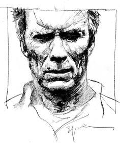 Clint Eastwood by Bill Sienkiewicz *