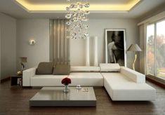 Regole per arredare il salotto - Salotto con grande lampadario