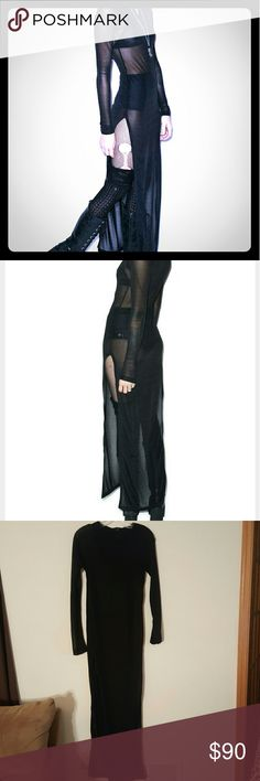 Widow dollskill dress See through witchy dress with a hood, high slits on both sides.  Lip service side brand widow Worn once.  Unif Dollskill  Hot topic  Goth  Gothic Wiccan Rave Raver  Punk Sexy dollskill  Dresses Maxi