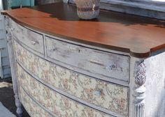 Cottage Elegance Romantic Tapestry Vintage Dresser With Mirror