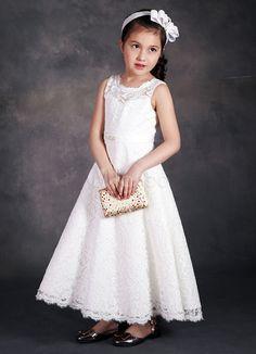 Lace Flower Girl s Dress Ankle-length Ivory Girl s Dinner Dress  Girl 8580747e5dcd