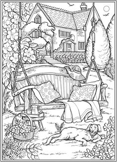 Creative Haven Country Gardens Coloring Book -- 6 sample pages Dover Coloring Pages, Detailed Coloring Pages, Printable Adult Coloring Pages, Cute Coloring Pages, Coloring Sheets, Garden Coloring Pages, Creative Haven Coloring Books, Summer Garden, Book Drawing