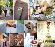 Up Inspired Wedding | Simply Inspirational. I really like the idea of the Bride's bouquet (or the Bridesmaids dresses) being the same colors as Kevin (the bird) While looking for photos I came across this and love how the bride's bouquet has the same pin as the groom is wearing The favors should be little badges (like the scout badges) for fun things that describe the couple