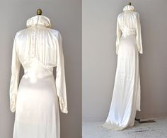 1930s wedding dress / vintage 30s dress / Cascata by DearGolden, $625.00