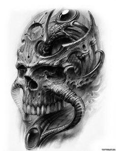 Biomechanical Tattoo Design, Skull Tattoo Design, Tattoo Design Drawings, Skull Design, Skull Tattoos, Tattoo Sketches, Body Art Tattoos, Tattoo Designs, Tattoo Studio