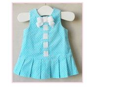 Tiffany Blue Corduroy Pinafore Dress with by PaisleyLynneBoutique