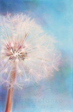 dandelion home decor - dandelion wall art - fine art print - large giclee of ethereal dandelion painting - macro photography - dandelion art Dandelion Painting, Dandelion Wall Art, White Dandelion, Big Flowers, Paint Party, Cute Crafts, Macro Photography, Fine Art Prints, Creative