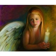 """""""Angel of Light"""" by N.A. Noel. She Did Such a Great Job with the Light Effects in This One. Angel Girl with Candle Painting."""