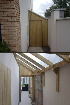 Timber framed lean to sheds in Dublin, with polycarbonate sheeted roof. Shed Design, Roof Design, Backyard Garden Design, Backyard Patio, House Extension Design, Shed Extension Ideas, Side Extension, Open Shed, Casa Top