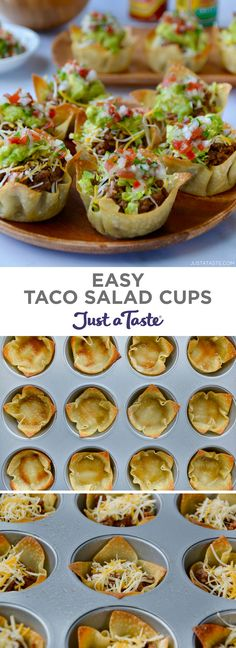 Easy Taco Salad Cups are the perfect party food! They're finger-friendly, can be made a day in advance, and star your favorite taco fillings. justataste.com #recipes #partyfood #food #tacosalad #muffintinrecipes #appetizers #justatasterecipes
