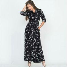 Kadın Siyah Nota Desenli Viskon Uzun Gömlek Elbise