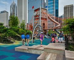 Adjacent to Chicago's Millennium Park, the Michael Van Valkenburgh Associates designed Maggie Daley Park is filled with different sections for various activities, including the Play Garden. Spanning 3-acres, the Play Garden was designed to capture the imagination through custom play structures and sculptures.  Photo courtesy of Michael Van Valkenburgh Associates
