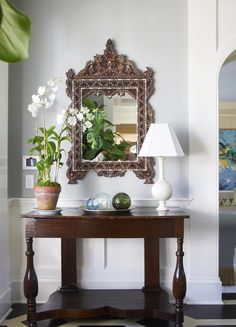Quite lovely main entry decor ( as long as the mirror is bit facing the front door) See more feng shui decor tips at http://FengShui.About.com