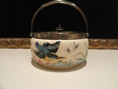 RARE Antique Sandstone Porcelain Biscuit Jar or Barrel Handpainted Birds SP Lid | eBay