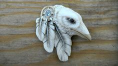 Porcelain CABOCHON White Dreamcatcher Raven by Laura Mears