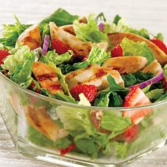 Want more flavor in your salad? This easy Spring Grilled Chicken Salad recipe adds a spring twist with strawberries, pecan pieces and raspberry vinaigrette. Toss ingredients well and serve salad topped with sliced chicken. Asian Chicken Salads, Grilled Chicken Salad, Chicken Salad Recipes, Soup Recipes, Orange Glazed Chicken, Spring Mix Salad, Chicken Breast Fillet, Salad Topping, Light Recipes