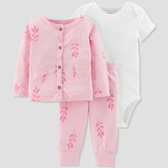 Baby Girls  3pc Floral Cardigan Set - Just One You made by carter s Pink 24M 9e8260143