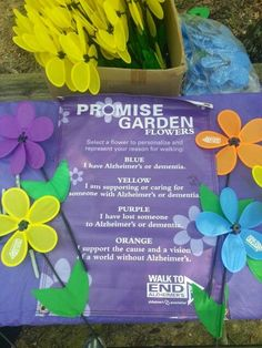 Promise Garden Flowers for the Walk to End Alzheimer's.I have the Yellow Flower Longest Day Alzheimers, Alz Walk, Alzheimer's Day, Walk To End Alzheimer's, Alzheimer's Association, Alzheimer Care, Alzheimers Awareness, Relay For Life, Alzheimer's And Dementia