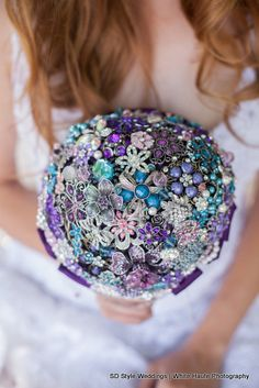 Cascading #broochbouquet by Blue Petyl.  White Haute Photography & SD Style Weddings