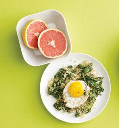 Fried Egg Over Spinach Quinoa- In a small skillet, cook 1 cup baby spinach with 1/2 cup cooked quinoa over medium heat until spinach wilts, 3 minutes; transfer to a plate. In same skillet, fry 1 egg in 1 tsp olive oil. Top quinoa mixture with egg. Serve with 1 grapefruit. 336 calories, 12 g fat (2 g saturated), 48 g carbs, 7 g fiber, 13 g protein