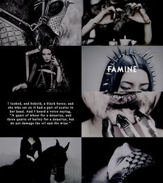 """pxrsephonie: """" """"mythology meme: five relationships ≡ the four horsemen; """" Authority was given to them over a fourth of the earth, to kill with sword and with famine and with pestilence and by the wild beasts of the earth. """""""