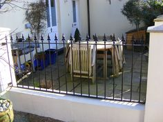 Wall railings in Tunbridge wells Wall Railing, Railings, Front Wall Design, Tunbridge Wells, White Walls, Wrought Iron, Fence, Garden Ideas, House Design