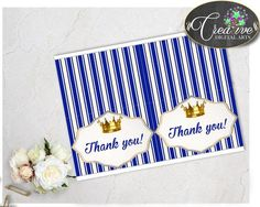 Royal Baby shower THANK YOU card little prince, royal blue and gold crown theme printable, digital files jpg pdf, instant download - rp001
