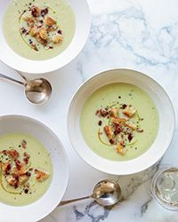 This elegant soup from chef Naomi Pomeroy gets a surprising amount of flavor from sautéed celery. It has great garnishes, too: bacon croutons and a drizzle of lemon oil. Be sure to buy extra-virgin olive oil infused with pure lemon extract.   Slideshow: More Warming Soup Recipes
