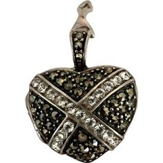 Marcasite and Rhinestones Opening Pendant in Sterling Silver