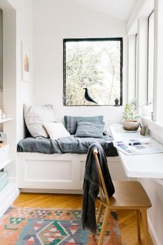 Prefer an office with a view? Add a long shelf along a window and soak in the rays as you work.