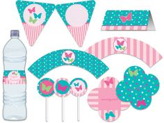 Festa Borboleta - Turquesa, pink, rosa, verde Tuty - Arte & Mimos www.tuty.com.br