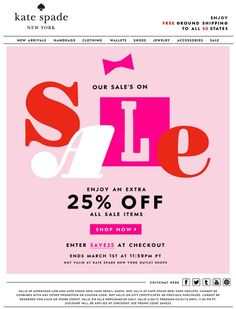 Kate spade Newsletter sale