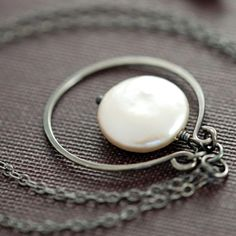 Coin Pearl Sterling Silver Necklace Handmade Pendant by aubepine, $38.00