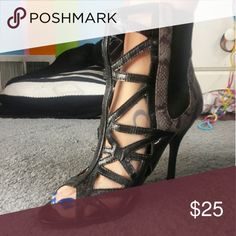 Strappy snake skin heels These cuties have a little love on the back of the heals. But no toe prints or front scuffing otherwise Shoes Heels