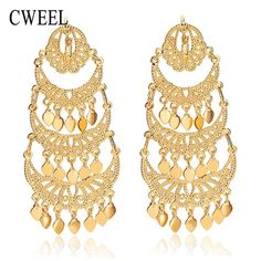 CWEEL Dangle Long Drop Earrings For Women Gold Color African Beads Fashion Lady Indian Engagement Accessories Party Jewelry