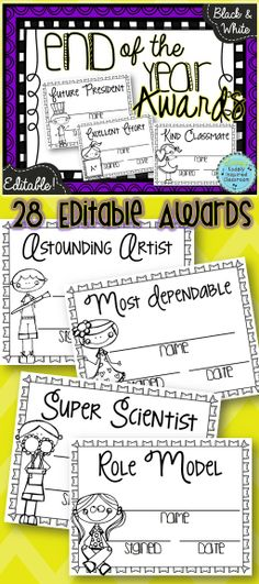 EDITABLE Black and White End of the Year Class Awards! What a great way to recognize each student individually! Save tons of ink with these black and white awards. Print on bright or pastel card stock or paper. Over 45 pages! #edchat #endoftheyear #teacher $