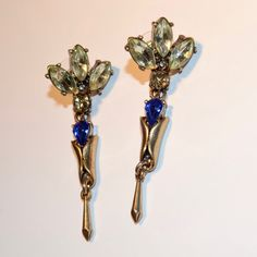 $6.00 Vintage style Crystal leaf drop earrings, antique gold, pierced earrings, Tulip drop earrings, gift for Mother,