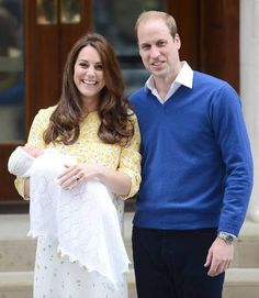 Kate Middleton and Prince William step out to show the world Princess Charlotte Elizabeth Diana #Congratulations