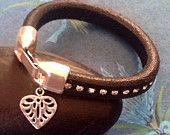 black leather diamante bracelet with silver zamak clasp and heart pendant