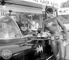 Batgirl - Yvonne Craig  Batman - Adam West, get some car service fast food.