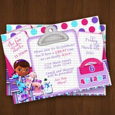 Items similar to Doc Mcstuffins Pet Vet Invitations, Prescription Invitation, Doc Mcstuffins Birthday Invitations, Doc Mcstuffins Party Printables - Style ...